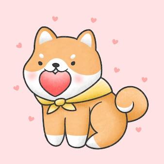 Cão shiba inu bonito, segurando o coração mão desenhada estilo desenhado