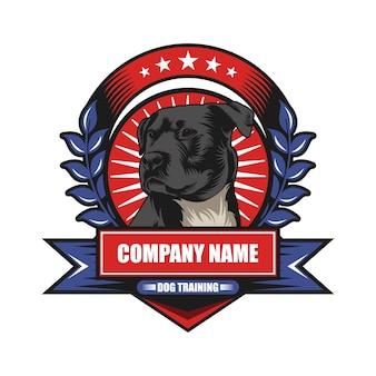 Cão, treinamento, emblema, vetorial, ilustração