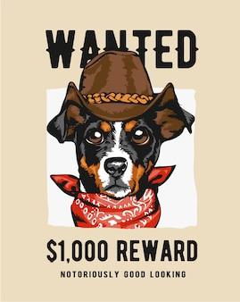Cão vaqueiro na ilustração de sinal de procurado