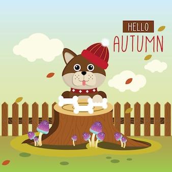 Cãozinho bonito apreciando o outono
