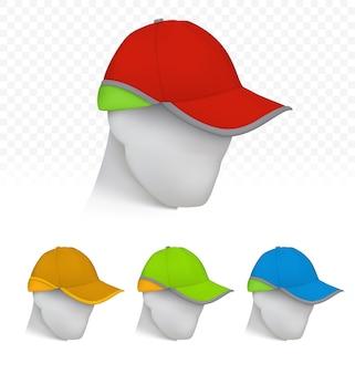 Cap de segurança em cores de néon na cabeça de manequim