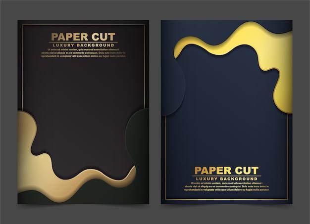 Capa abstrata de luxo em ouro e onda preta