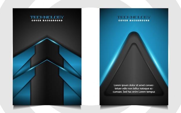 Capa azul e preta futurista abstrata