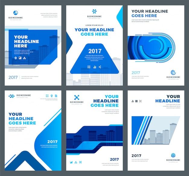 Capa azul para o conjunto de modelos de design de relatórios anuais