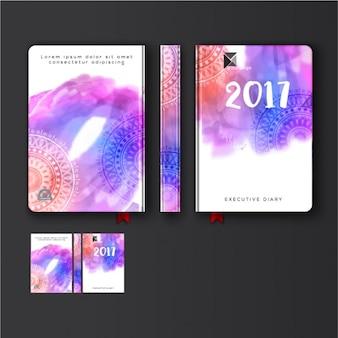 Capa colorida diário com mandalas decorativas