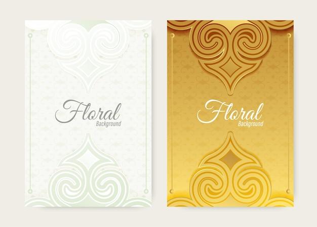 Capa com forma floral de ornamento dourado e branco