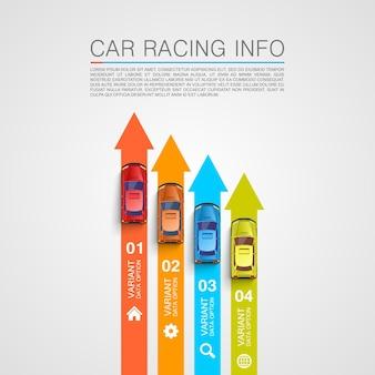Capa da arte com informações sobre corridas de carros ilustração vetorial