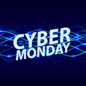 Capa da cyber monday. fundo azul abstrato espiral de néon. ilustração vetorial