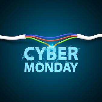 Capa da cyber monday. quebra do cabo, desconecte a tampa de arte. ilustração vetorial