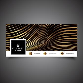 Capa da linha do tempo da mídia social com design de listras douradas