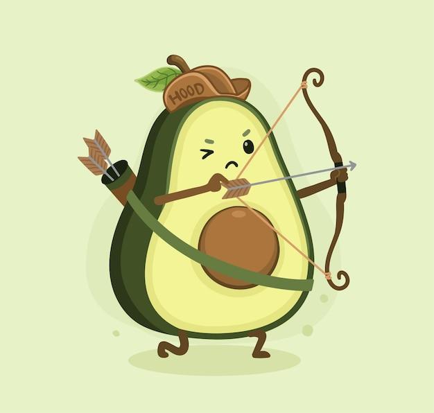 Capa de abacate desenho animado