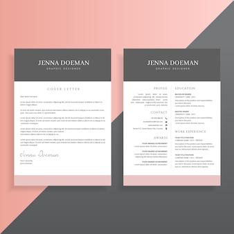 Capa de apresentação e currículo conjunto de design de modelo cv