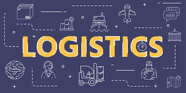 Capa de bandeira de ícone de contorno logístico para logística e transporte em todo o mundo