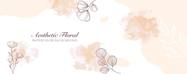 Capa de banner largo de aquarela ou publicidade de página da web. aquarela abstrata splatter modelo de plano de fundo do vetor largo pastel marrom claro. para beleza, casamento, maquiagem, joias. feminino romântico