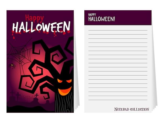Capa de bloco de notas de halloween com árvore