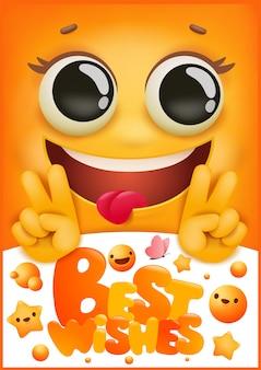 Capa de cartão de aniversário. personagem de desenho animado emoji sorriso amarelo. muitas felicidades