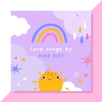 Capa de cd de amor infantil desenhada à mão