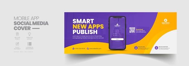 Capa de cronograma do facebook e modelo de banner da web para promoção de aplicativos móveis