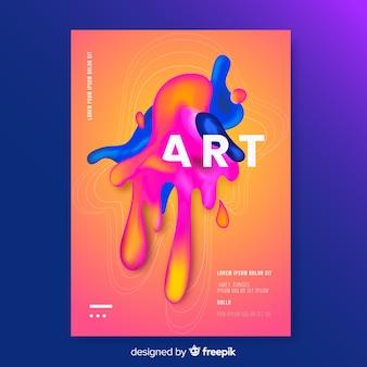 Capa de design com efeito líquido colorido