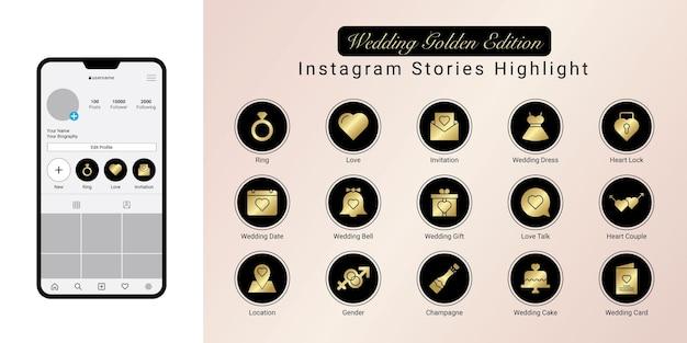 Capa de destaque de histórias de casamento de ouro no instagram