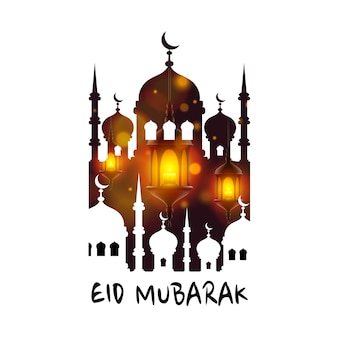 Capa de eid mubarak, modelo de belo design islâmico, pôster de ramadan kareem. ilustração vetorial