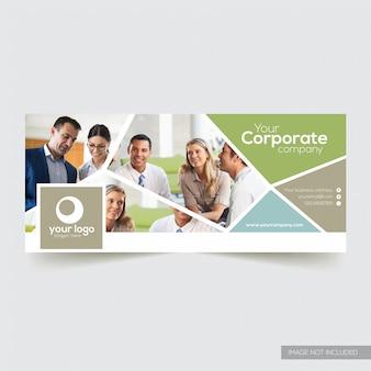 Capa de facebook corporativo com elemento abstrato azul