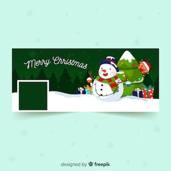 Capa de facebook de boneco de neve dos desenhos animados