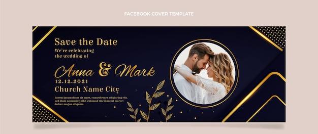 Capa de facebook de casamento dourado de luxo realista