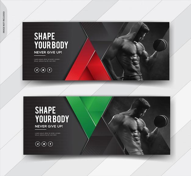 Capa de facebook de fitness mídias sociais post banner