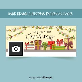 Capa de facebook de giftboxes mão desenhada