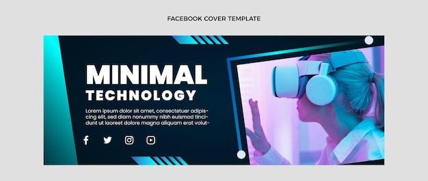 Capa de facebook de tecnologia mínima de design plano
