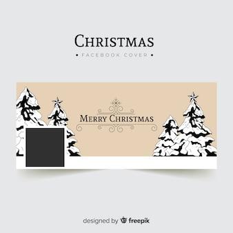 Capa de facebook vintage árvore de natal