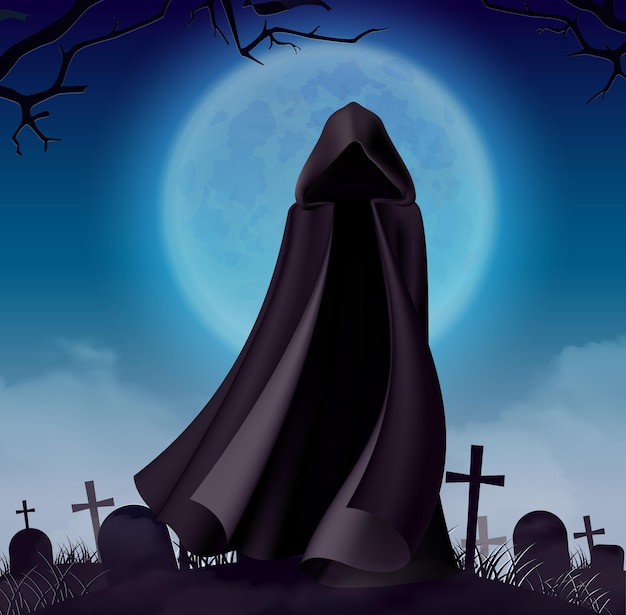 Capa de fantasma de halloween à noite com lua grande e vista do cemitério com vestido escuro