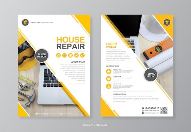 Capa de ferramentas de construção corporativa, modelo de design de folheto a4 página traseira e ícones planas