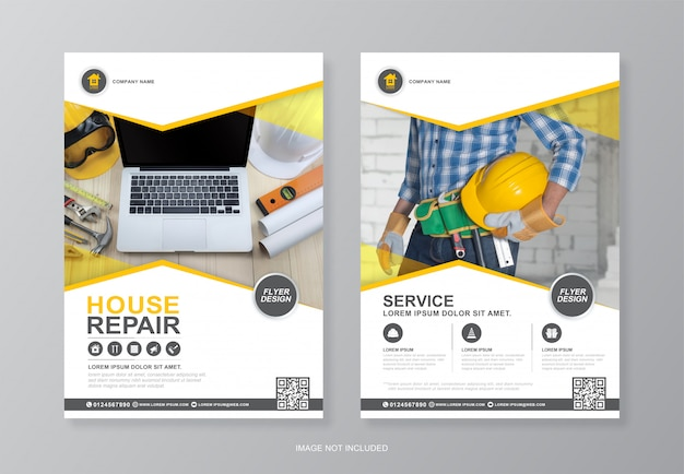 Capa de ferramentas de construção e modelo de design de folheto a4 página traseira