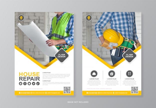 Capa de ferramentas de construção e modelo de design de folheto traseiro