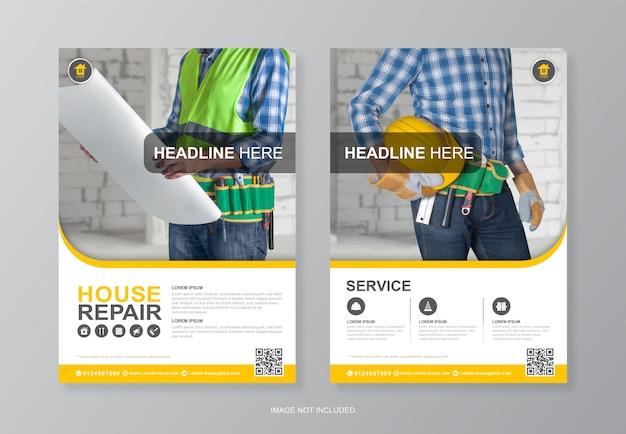 Capa de ferramentas de construção, modelo de design de folheto de última página