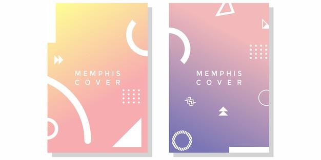 Capa de gradiente abstrata com elementos de memphis