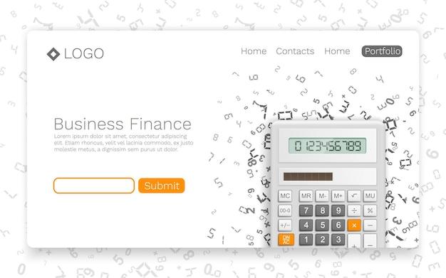 Capa de informações de banner de finanças empresariais. conceito de página inicial. ilustração vetorial