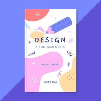Capa de livro de design colorido desenhado à mão