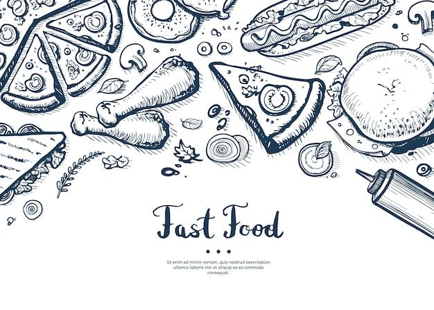 Capa de menu de fast-food em estilo vintage