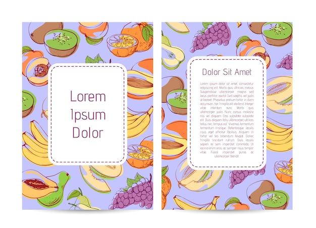 Capa de menu de produtos agrícolas ecológicos com frutas tropicais