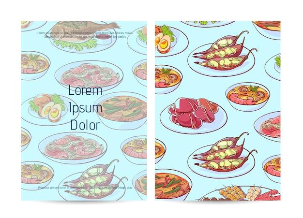 Capa de menu de restaurante de comida tailandesa com pratos asiáticos