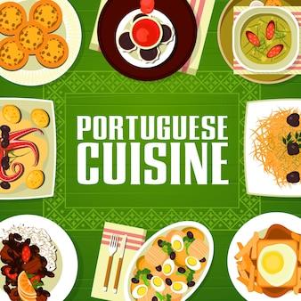 Capa de menu de restaurante de cozinha portuguesa