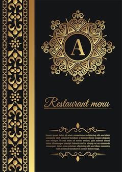 Capa de menu de restaurante elegante com logotipo enfeitado
