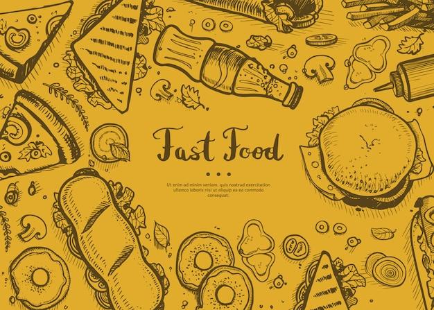Capa de menu de restaurante retrô de fast-food
