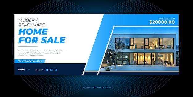 Capa de mídia social de venda doméstica de agência imobiliária, design de modelo de banner de mídia social.