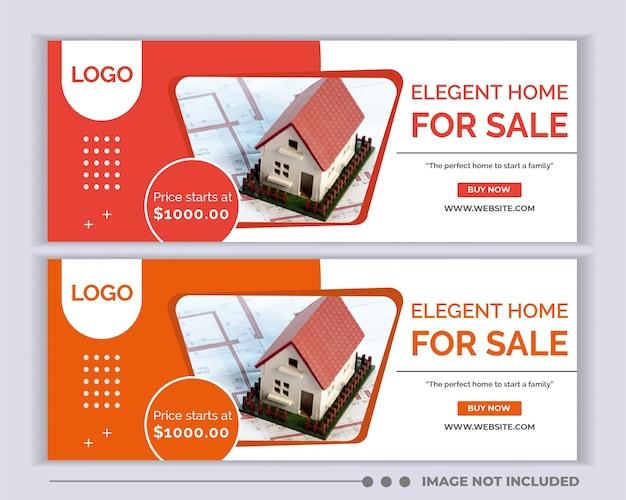 Capa de mídia social imobiliária., modelo de cabeçalho de banner da web