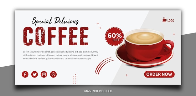Capa de mídia social para cafeteria ou modelo de banner
