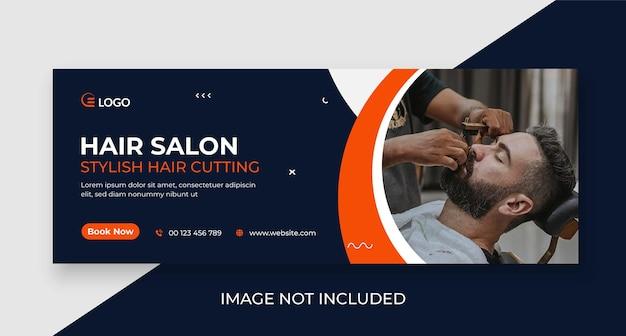 Capa de mídia social promocional de barbearia e modelo de banner da web